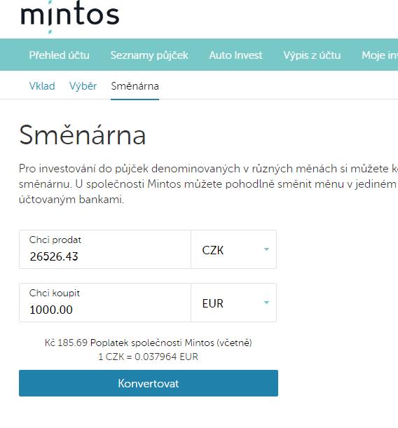 Směna CZK EUR v Mintos 07062017