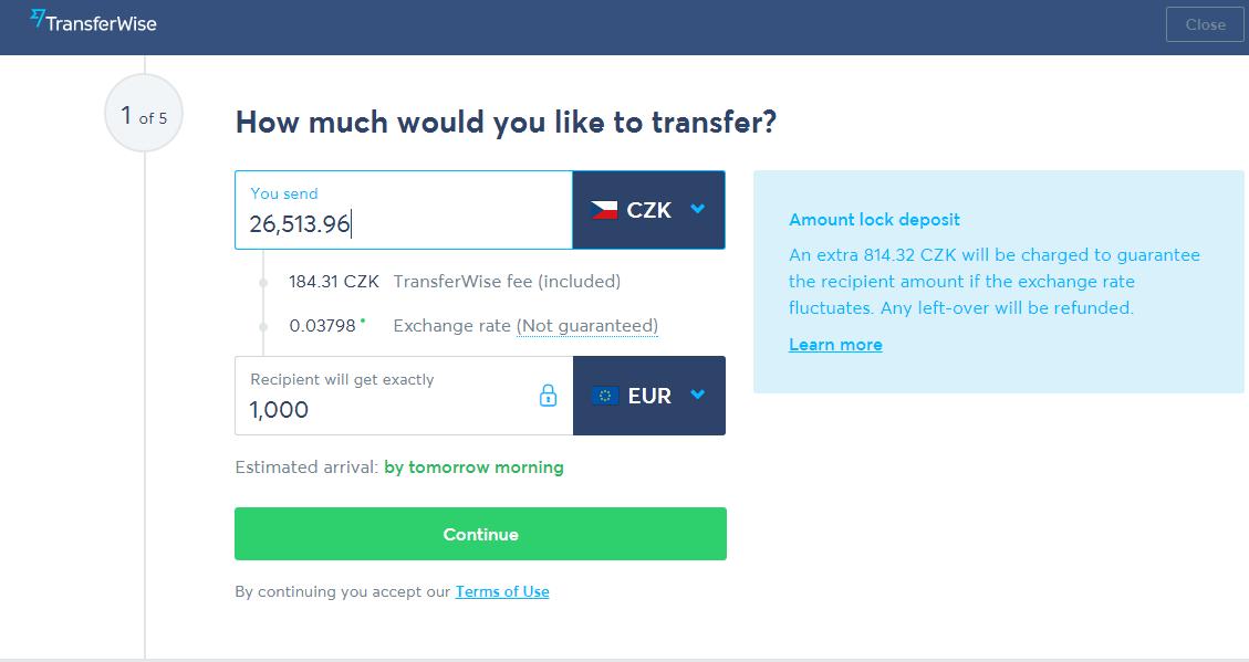 Směna CZK EUR Transferwise 07062017